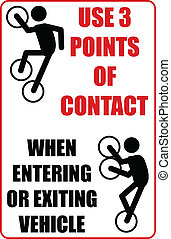 3 point contact v2 - small sign displaying how to get into...