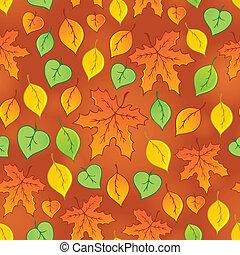 3, pokryty obficie liśćmi, seamless, tło