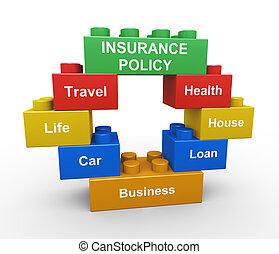 3, politik forsikring, barn, stykke legetøj, blokken