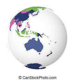 3, politisk, karta, vektor, klot, illustration, australia., map., färgad, mull, tom