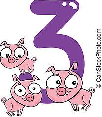 3, porcos, numere três