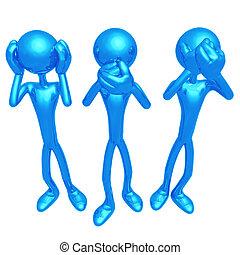 3, postura, sabio, mono