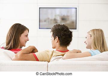 3 průvodce, do, obývací pokoj celodenní, dávat si pozor televize, usmívaní