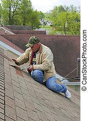 3, pracujący, dach