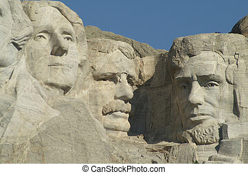 Three Presidents at Mount Rushmore National Memorial; Jefferson, Roosevelt, Lincoln