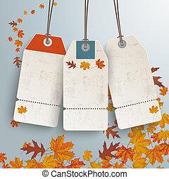 3, prix vente, vendange, autocollant, automne
