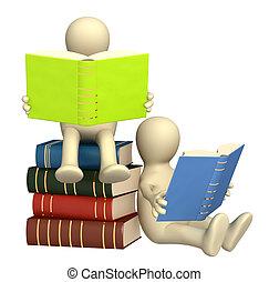 3, puppets, läsning, den, böcker