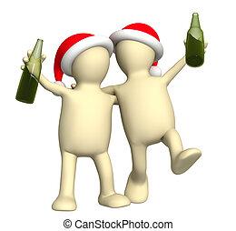 3, puppets, -, vänner, celebrerande jul