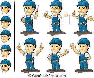 3, réparateur, mascotte, technicien, ou