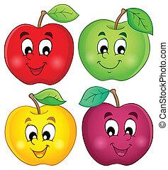 3, różny, jabłka, zbiór