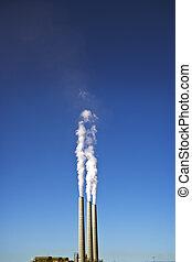 3, raucht, stapel, &, blauer himmel