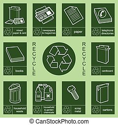 3, reciclaje, colección, señal