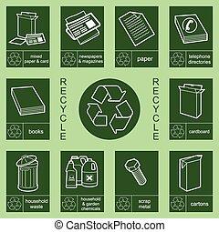 3, recycling, zbiór, znak
