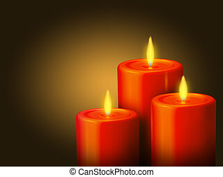 An illustration of 3 lighted red candles on a golden background