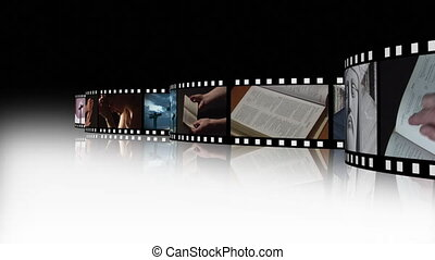 3, religieux, métrage, collage