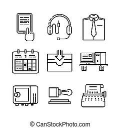 3, remplir, ensemble, bureau, icône