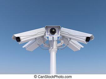 3, render, i, 6, kameraer security, på, en, pol, rykke sammen