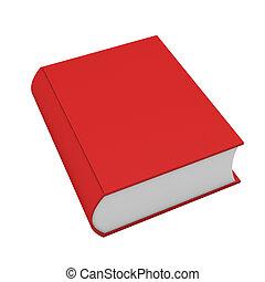 3, render, i, rød bog, på hvide