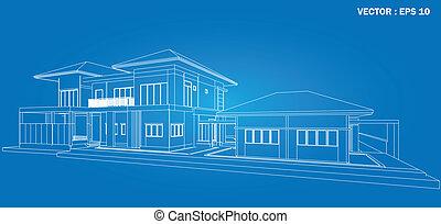 3, render, közül, épület, wireframe