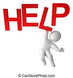 3, render, személy, segítség
