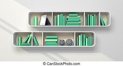 3, rendered, bookshelves.