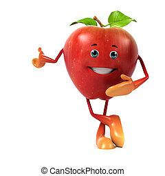 3, rendered, illustration, i, en, æble, karakter