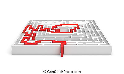 3 rendering of white square labirynth with a red line showing the true path to exit isolated on white background