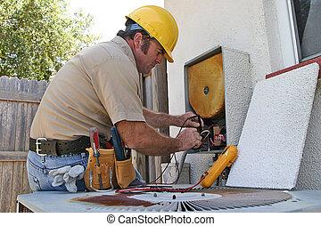 3, repairman, konditionering, luft