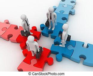 3?, reunión negocio, en, rompecabezas, encrucijada