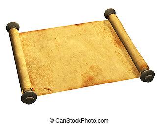 3, rulla, av, gammal, pergament