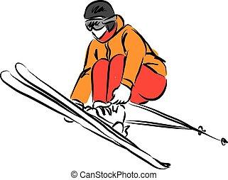 3, saltar, esquí, ilustración