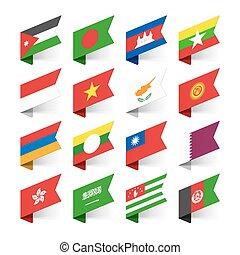 3, satz, flaggen, welt, asia