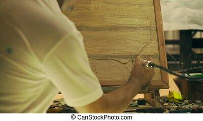 3 Sculptor Painter Artist Chiseling A Wooden Bas Relief -...