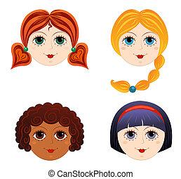 3, set, meiden, gezichten