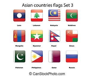 3, set, vlaggen, aziaat, landen