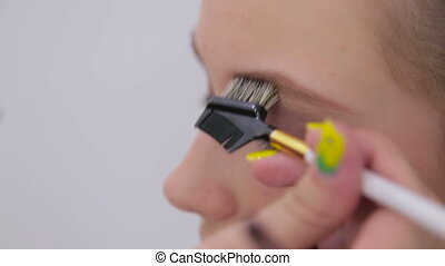 3 shots. Professional make-up artist combing eyebrows of client