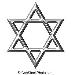 3, silver stjärna, av, david