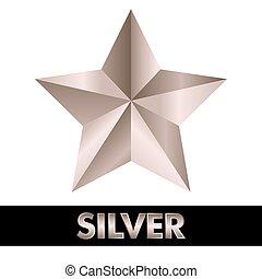3, silver stjärna, vita