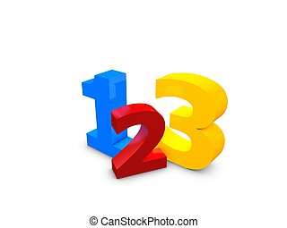 3 simple step - 3d image, 123 easy simple step over white...