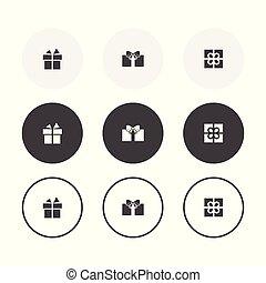 3, simples, desenho, presente, fundo, arredondado, jogo, icons., cobrança
