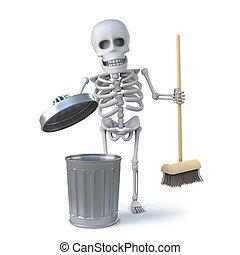 3, skelett, har, a, fjäder, ren, med, hans, kvast