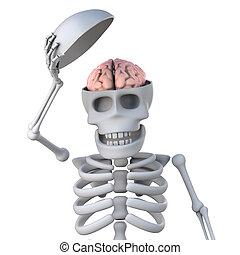 3, skelett, yppa, hans, hjärna