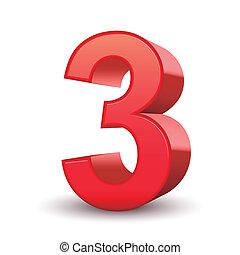 3, skinnende, rød, nummerer 3