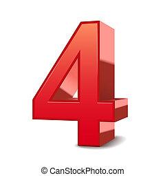 3, skinnende, rød, nummerer 4