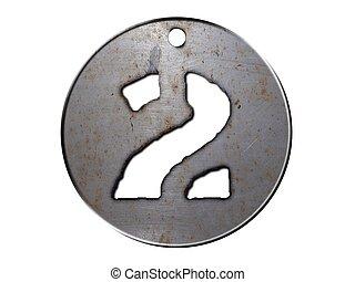 3, skiva, metall, numrera två