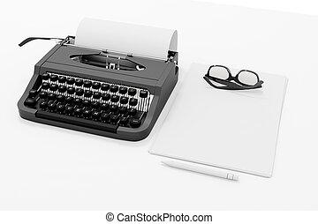 3, skrivmaskin, och, papper