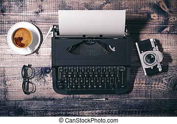 3, skrivmaskin, på, trä, bakgrund