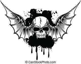 3, skrzydełka, czaszka