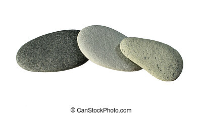 3 smooth gray pebbles