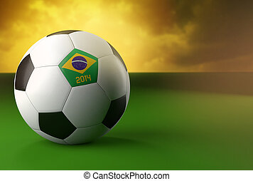 3, soccer bold, hos, flag brasilien, på, grønnes græs